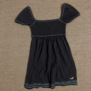 Hollister navy blue smocked baby doll top